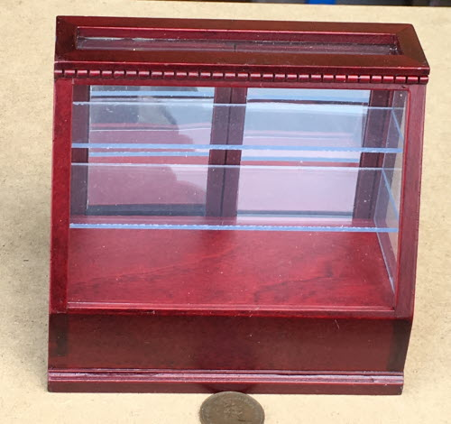 1:12 Scale Large 6 Sided Glass Shop Display Cabinet Tumdee Dolls House Red Base
