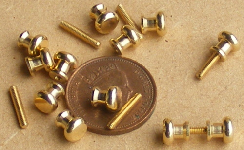 1:12 Scale 4 Brass Door Knobs 0.5cm x 0.5cm Tumdee Dolls House Handles DIY 584